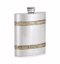 6oz Luxury Hip Flask with Brass Bands